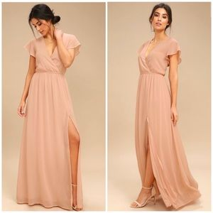 Lulus Lost in the moment Blush Maxi Dress Size L
